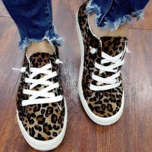 Shoes - Leopard Canvas Sneakers - Black / Brown